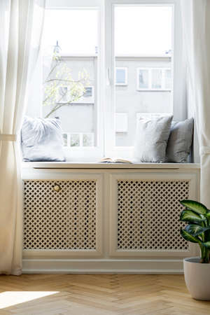 Pillows on window sill in bright simple living room interior with plant and drapes. Real photo Stock Photo