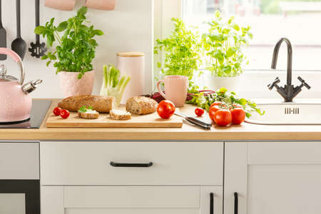 Close-up of bread, tomatoes and plants on a countertop in a kitchen interior