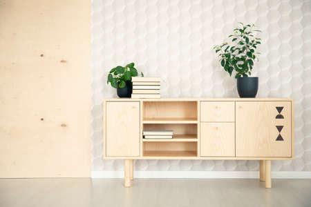 Pflanzen auf Holzschrank im minimalen Wohnzimmer Interieur mit Tapete. Echtes Foto