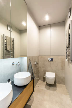 Ceramic washbasins and toilet in a modern, fancy bathroom interior with beige, marble tiles and wooden furniture