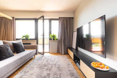 Tappeto grigio, tende e un divano elegante in un interno accogliente del soggiorno di un monolocale con luce naturale proveniente dalle grandi finestre del balcone Archivio Fotografico