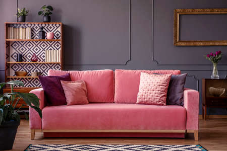 Satin pillows on a pink velvet sofa in a luxurious living room interior with molding on dark gray walls and retro design
