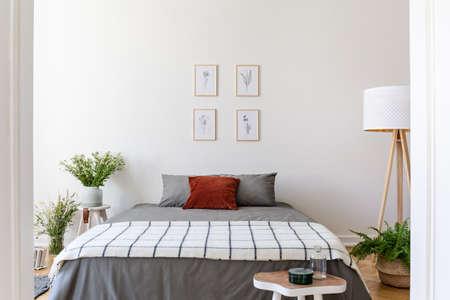 Plakate über grauem Bett mit gemusterter Decke im Schlafzimmerinnenraum mit Blumen und Lampe. Echtes Foto