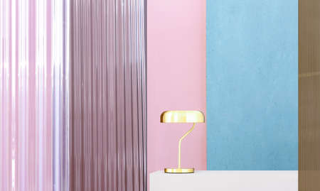 Real photo of a gold lamp on a white pedestal in colorful interior with blue and pink walls