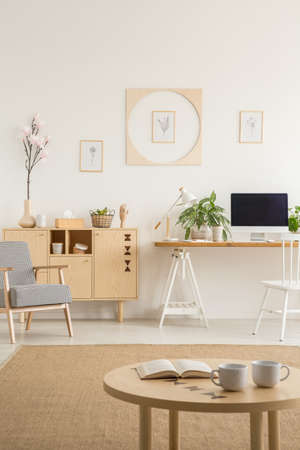 Posters on white wall above desk with desktop computer next to cabinet in flat interior. Real photo