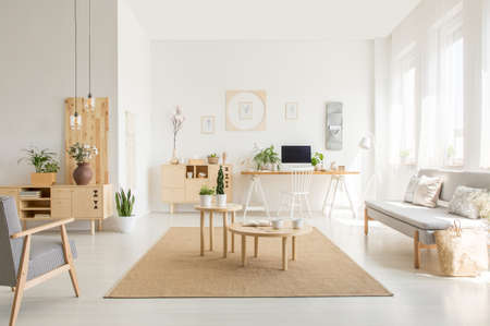 Wooden table on brown carpet between sofa and armchair in white open space interior. Real photo 版權商用圖片