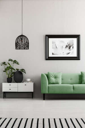 Poster above green couch next to cupboard with plants in living room interior with lamp. Real photo Stock Photo