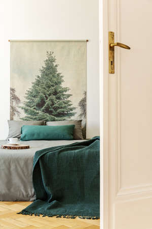 Green blanket and pillows on grey bed in bedroom interior with tree painting and door. Real photo