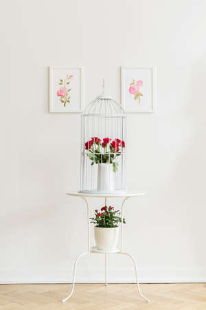 White metal end table with fresh red roses standing on herringbone parquet in real photo of white room interior with simple posters Stock Photo