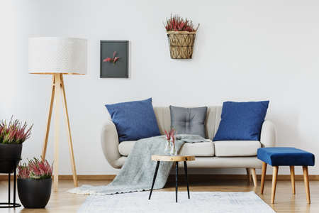 White sofa with blue and grey pillows and a blanket next to heather plants in a living room interior