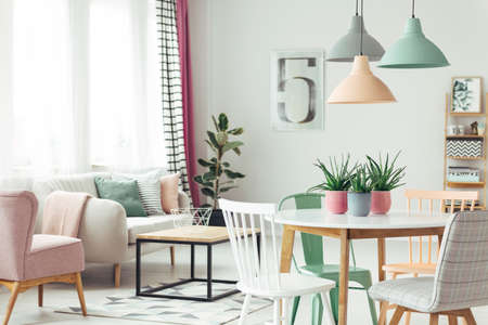 Real photo of a pastel living room interior with a dining table, chairs and lamps. Coffee table and sofa in blurred background