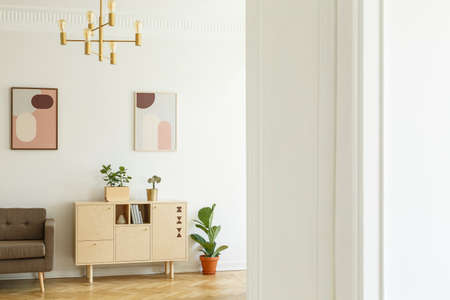 Retro style apartment interior with a minimalist, wooden cabinet in a bright living room interior with plants and posters on a white wall. Real photo. Stock Photo