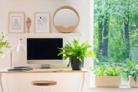 Close-up of a modern computer screen on a desk by the window in a white home office interior with wooden decorations and plants