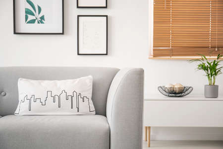 Pillow with a city outline graphic on a gray sofa and a blurry background of framed gallery on a white wall in a natural living room interior