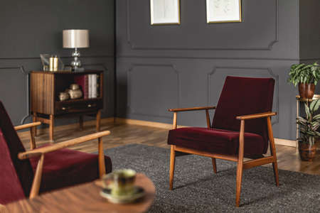 Burgundy armchair placed on dark carpet in grey living room interior with blurred foreground