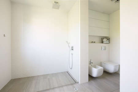 Glass shower and toilet in white spacious bathroom interior. Real photo