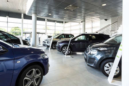 Row of luxury cars standing in a bright, elegant showroom Banco de Imagens
