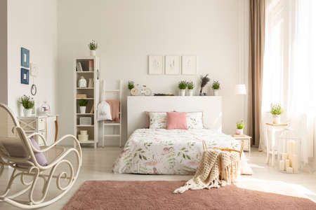 Stock Photo   White Bedroom Interior With Dirty Pink Carpet, Rocking Chair,  Window With Drapes And King Size Bed In The Real Photo
