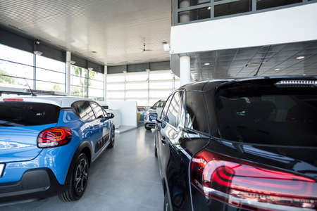 Blue and black cars standing in a bright,  luxury leasing salon Banco de Imagens