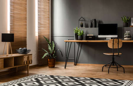 Lamp on wooden cupboard near plant and desk with computer monitor in dark grey workspace interior 스톡 콘텐츠