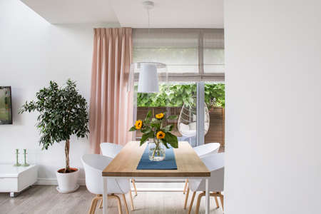 Real photo of a dining room interior with a table, chairs, tree and big window. Place for your graphic