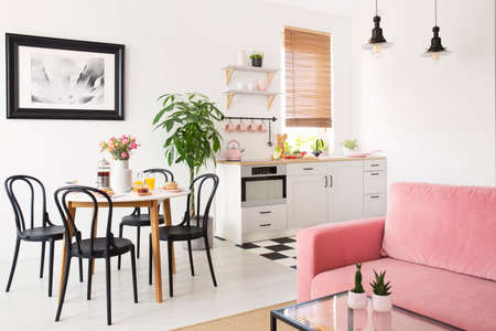 Pink sofa in white apartment interior with kitchenette and black chairs at dining table. Real photo Standard-Bild - 107107921