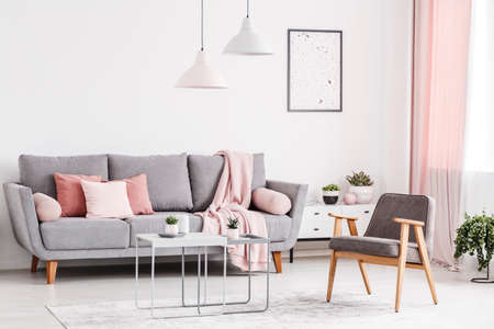 Retro armchair, grey sofa with pink pillows and coffee tables in an elegant living room interior. Real photo Stock Photo
