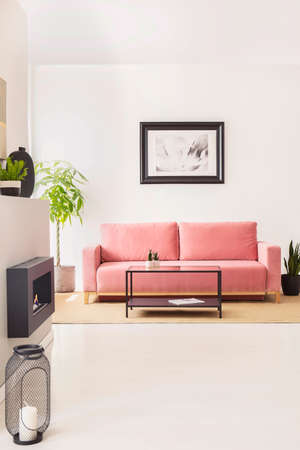 Pink couch against white wall with poster in bright living room interior with plants. Real photo Stockfoto