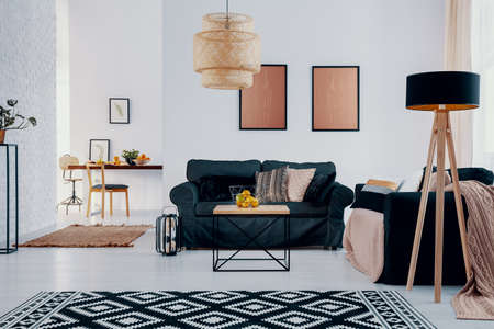 Pink posters above green sofa in bright apartment interior with patterned carpet and lamp. Real photo Stockfoto