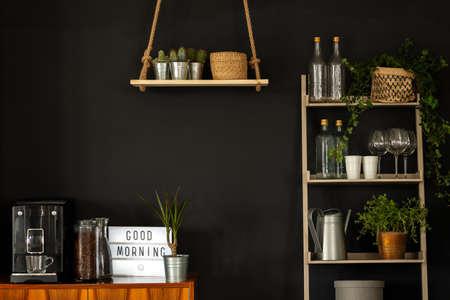 Echte foto van een modern keukeninterieur met planken, planten, koffiezetapparaat en wijnglazen op een zwarte muur