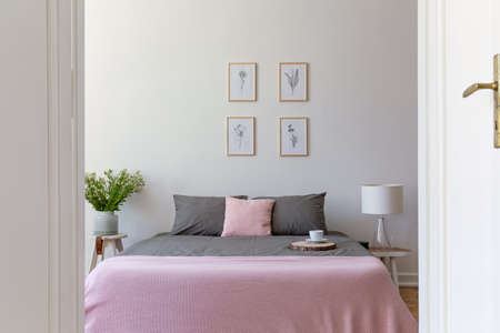 A view through an open door into a pastel bedroom interior with ashy bedding and rosy blanket on a double bed. Nature illustrations on the wall. Real photo. Stock Photo