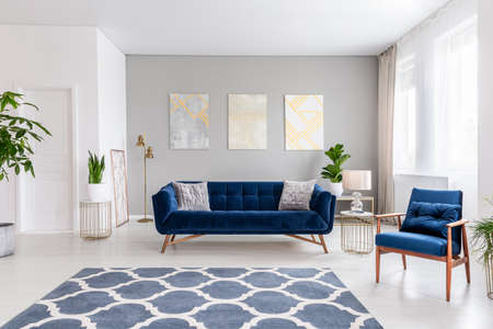 Open space living room interior with a navy blue sofa and an armchair. Rug on the floor and graphic decorations on the wall. Real photo.