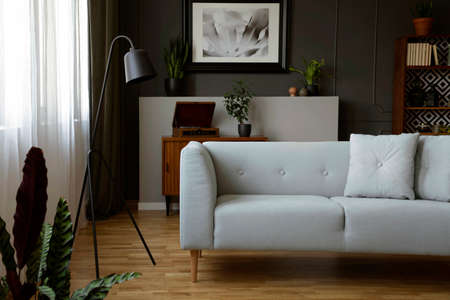 Real photo of dark living room interior with grey sofa, metal lamp, window with curtains and poster on a wall with molding
