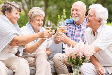 A toast made by happy senior women and men to celebrate the beautiful summer afternoon during their leisure time together. Smiling elderly couples with wine glasses. Stock Photo - 108186079