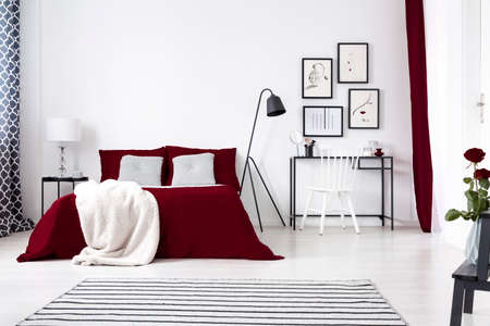 Simple Bedroom Interior With White Wall And Floor Double Bed Gorgeous Simple White Bedroom Interior