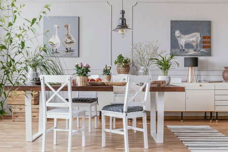 White chairs at table with flowers in rustic dining room interior with lamp and posters. Real photo