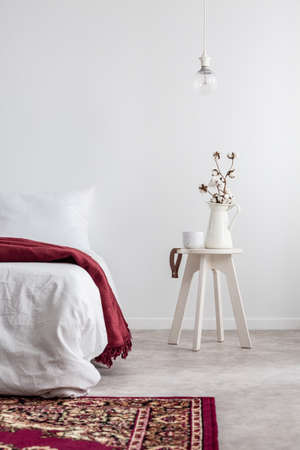 Plant on table next to bed with red blanket in white bedroom interior with carpet and lamp. Real photo