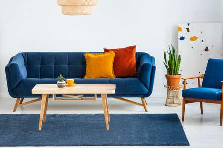 Fauteuil naast blauwe bank met kussens en houten tafel in plat interieur met plant. echte foto