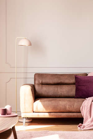 Lamp next to leather couch with pink blanket and cushion in white apartment interior. Real photo 版權商用圖片