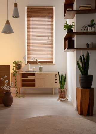 Window with blinds above wooden cupboard in bedroom interior with lamps and plants. Real photo