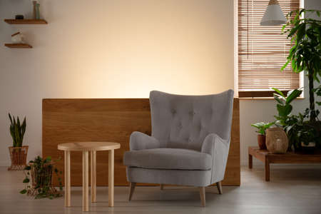 Grey armchair next to wooden table in living room interior with plants and light. Real photo