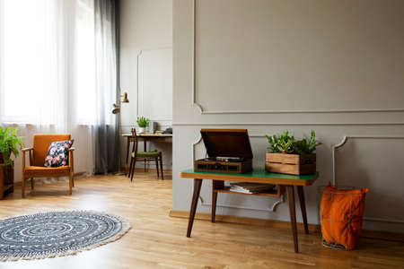 Record player and plant on table in vintage living room interior with rug and armchair. Real photo