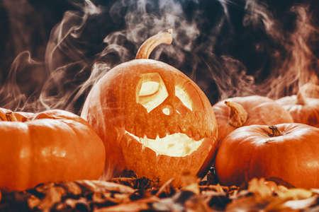 One funny halloween lantern made of pumpkin on dark background with smoke