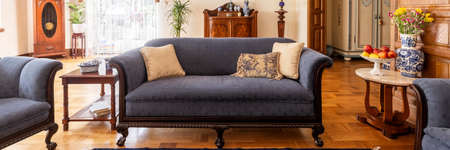 A stylish living room interior with antique furniture. Classic sofa on wooden floor. Panorama. Real photo. 写真素材
