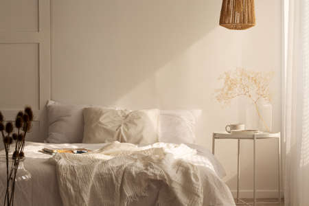 Plant on table next to bed with pillows and sheets in white simple bedroom interior. Real photo