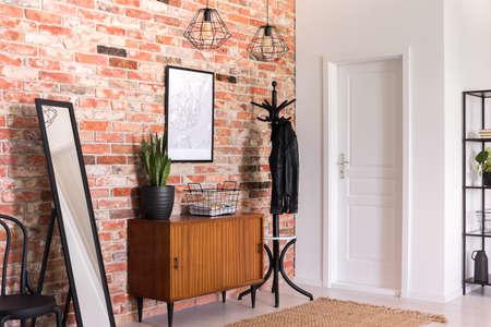 Pflanzen Sie auf einem Holzschrank zwischen Spiegel und Gestell im modernen Vorraum mit Poster. Echtes Foto