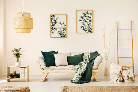 Bright living room interior with simple posters on wall, sofa with cushions and two blankets and wooden end table with books and fresh plant in real photo Banco de Imagens