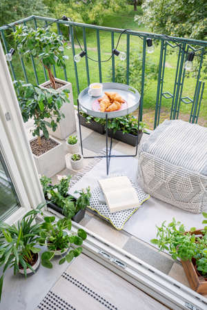 Beautiful space for meal and relaxation on a green balcony with a comfy ottoman, string lights and a tray with sweet pastries and coffee
