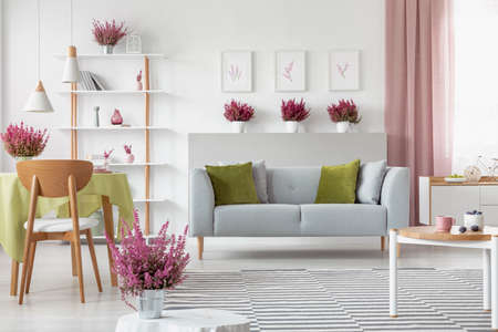 Elegant living room with heather on the shelf, white furniture, stylish wooden coffee table, patterned rug and grey couch with olive green and grey pillows Stock Photo