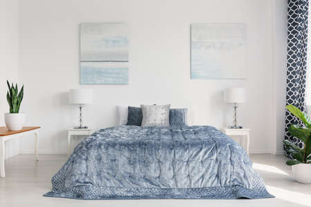 Two painting on the wall of elegant bright bedroom interior with cozy bedding and white furniture Banque d'images - 110071926